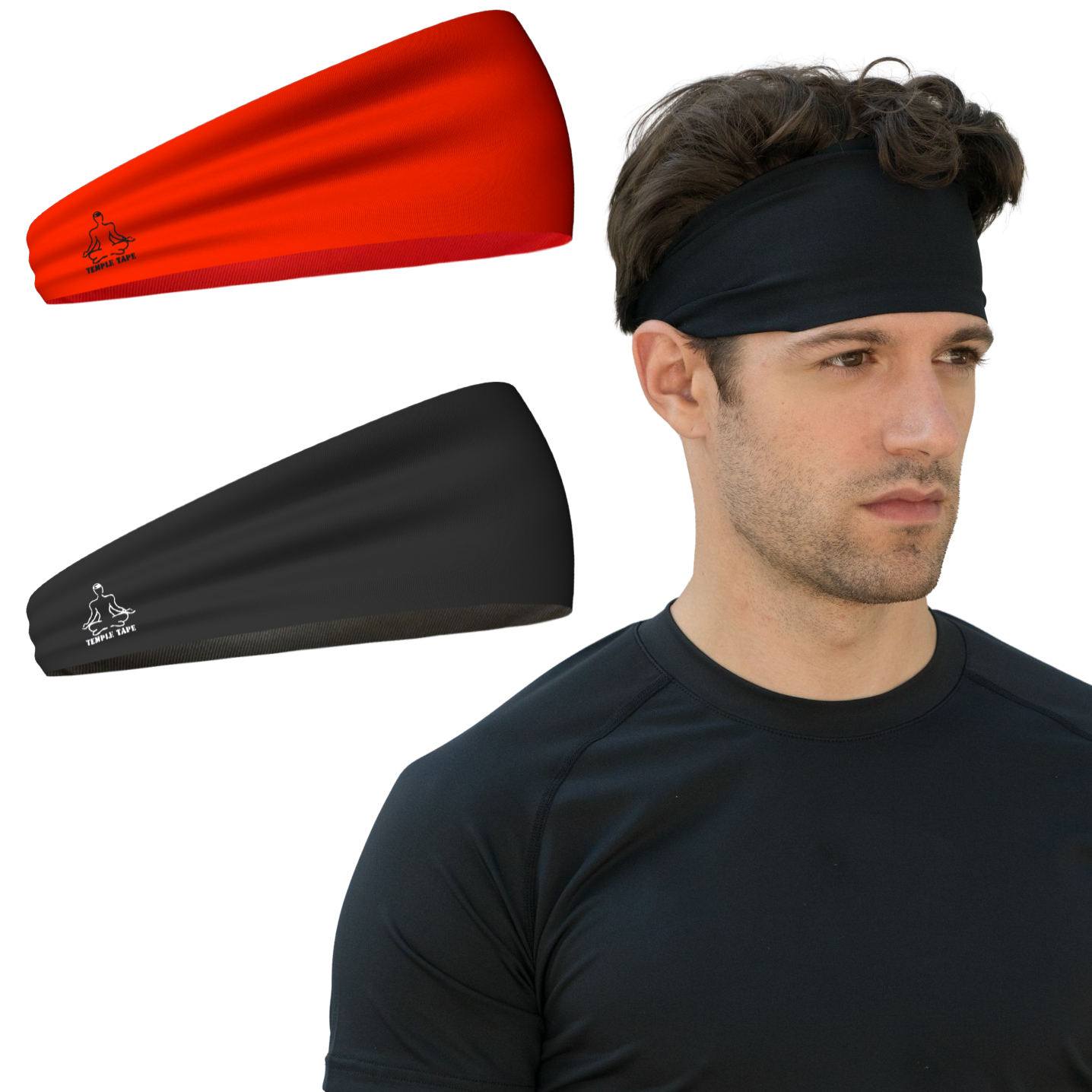 Model Wearing Sweatband