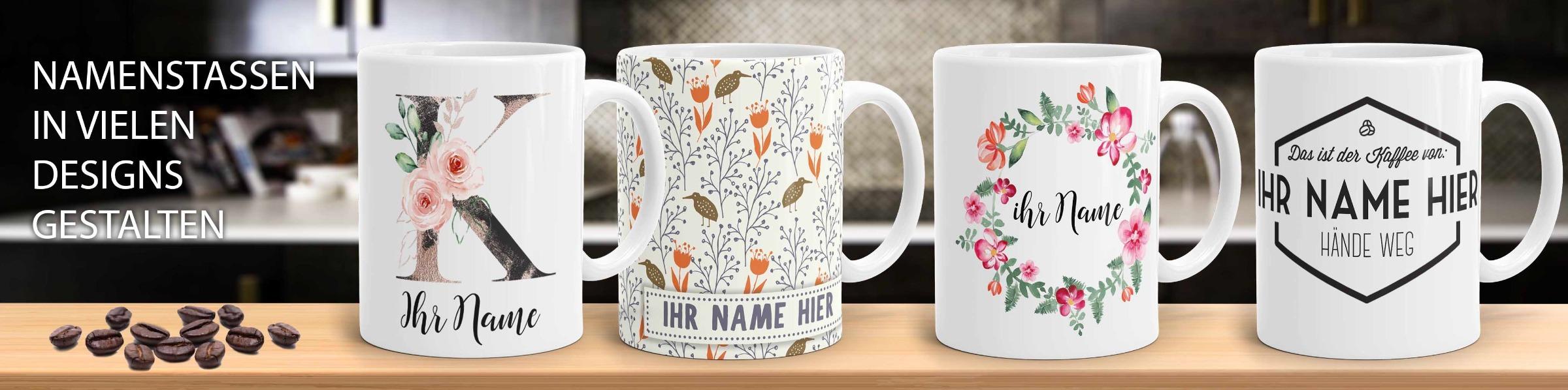Namenstassen und Tasse mit Namen
